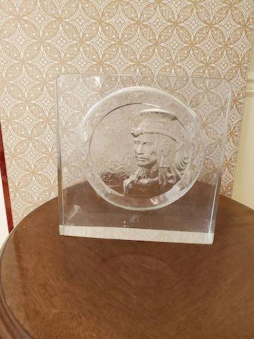 Japanese glass relief decorative glass plaque