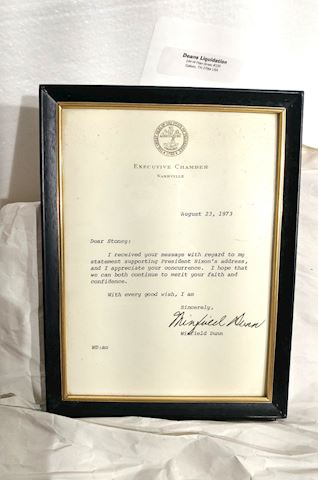 1973 Gov Tennessee, Signed Letter to Stoney Cooper