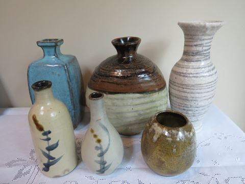 (6) Mid Century Pottery Vases