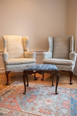 Lot 0012 2Chippendale wing back chair, Bench & Rug