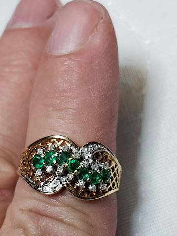 Emeralds and Diamonds, 14k, size 7