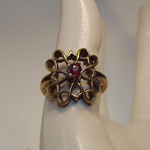 Sterling Vermeil Antique Gold Purple Garnet Ring 5