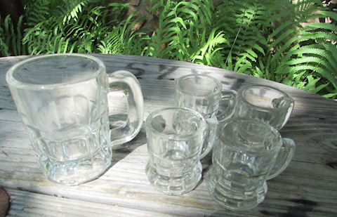 Glass Mug Lot, 5 pcs
