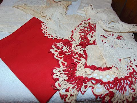 Box of Vintage and Antique Linens