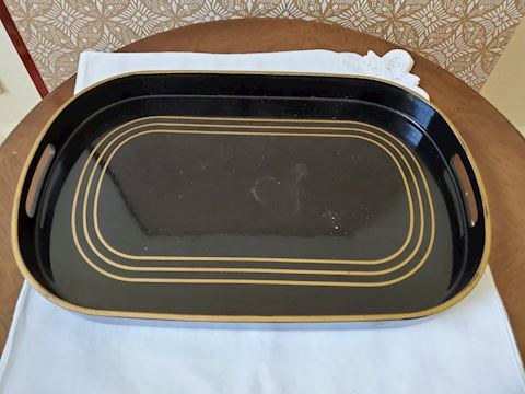 Black with gold lacquer tray