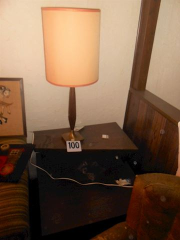 Lot #100 Mid-Century lamp and table