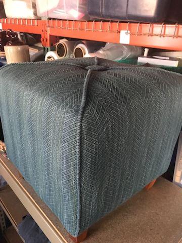 Blue Upholstered Ottoman