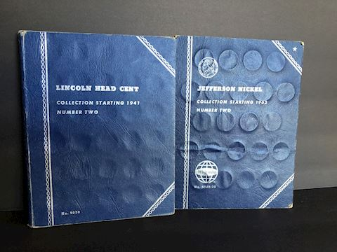 U.S. One Cent Penny &  Five Cent Nickel Coin Books