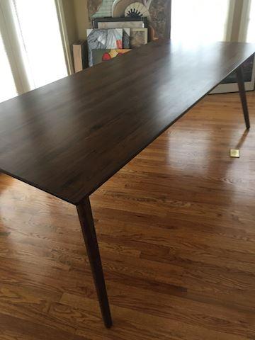 7' walnut mid century style table
