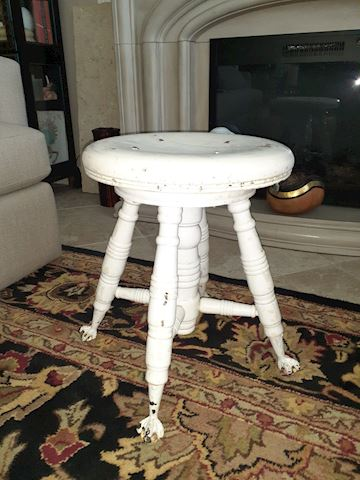 Antique White Piano Stool Claw Feet