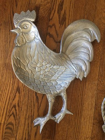 Large Pewter Rooster Tray