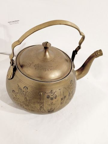 Antique Copper Tea Kettle w/ Detailed Art Etching