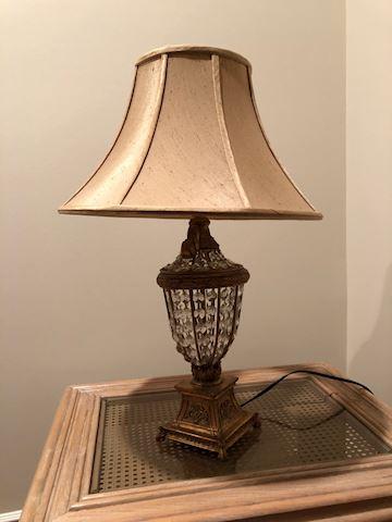 Lamp with Satin Shade and Crystals below