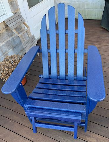 Blue Poly Adirondack Chair with Footrest: