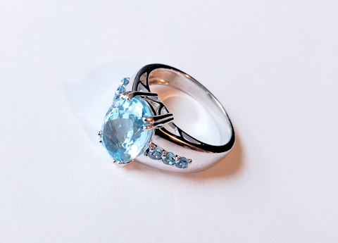 Sterling Silver Ring Topaz Gemstone