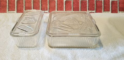 vintage glass refrigerator dishes ribbed