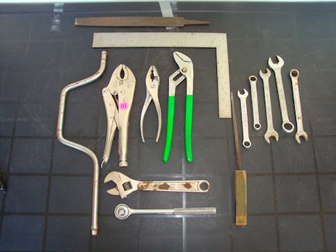 Wrenches, pliers, square, files misc toolsLot #151