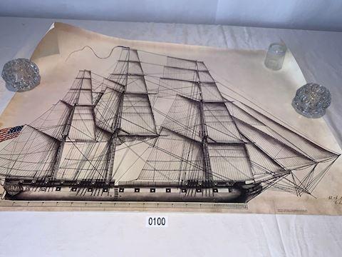Lot 00100 US Navy Ship Yard Lithograph