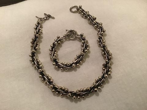 Sterling silver bracelet and necklace set