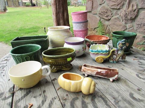 """Assorted Lot of 13 Flower Pots/Planters, 3""""-6""""high"""