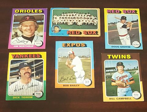Collection of 6-1975 Baseball Cards