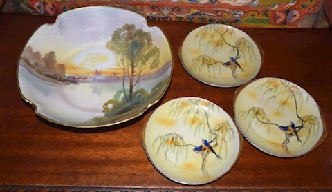 Antique c. 1920 Hand-Painted Nippon Dishes