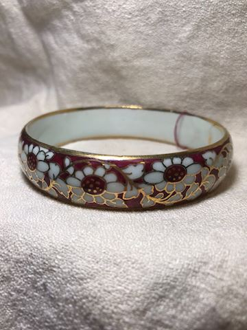 Floral enamel painted bangle bracelet