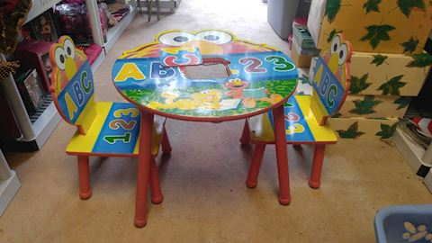 Vintage Wooden Elmo Child's Table & #2 Chairs