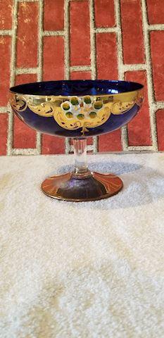 Bohemian cobalt blue glass gold painted dish
