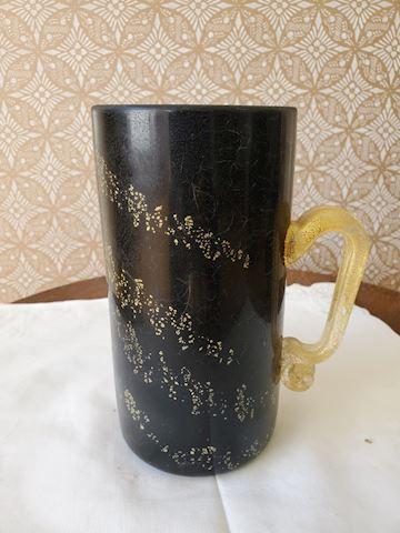Black handled gold fleck art glass