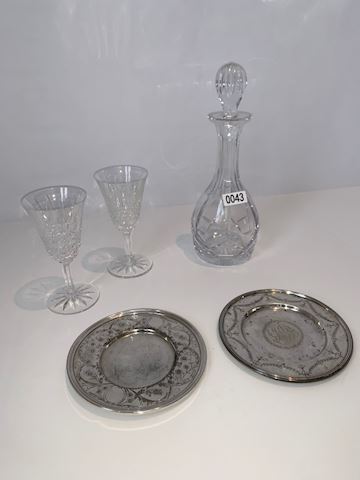 Lot 0043 St. Louis Crystal & Silver wine coasters