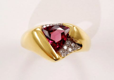 Trillion Cut CUSTOM Garnet w/ Diamonds 18K GOLD