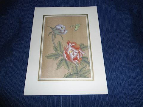 Hand Painted Oriental Floral Scene on Silk