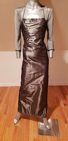 Pamela Dennis Couture silk Maxi gun metal Voile