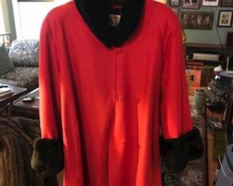 Red coat with sheared mink collar cuffs