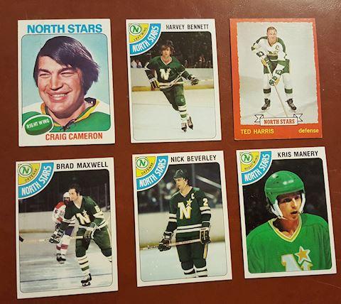 6 Vintage 1970's North Stars Hockey Cards