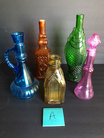 Vintage and Newer Glass Decorative Bottles Lot A