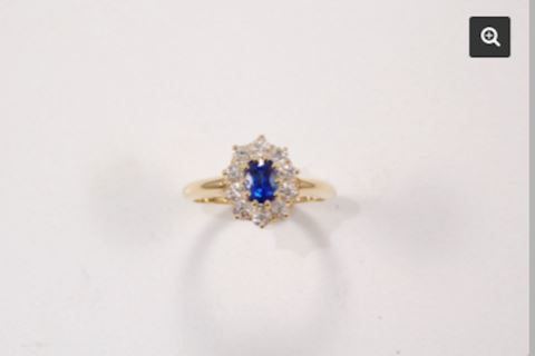 Blue Sapphire and Diamond Estate Ring
