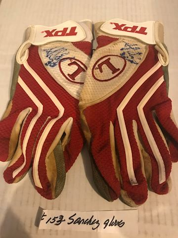Angel Sanchez Signed game used batting Gloves