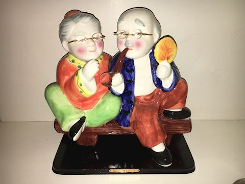 Sweet Old Couple Ceramic Figurine