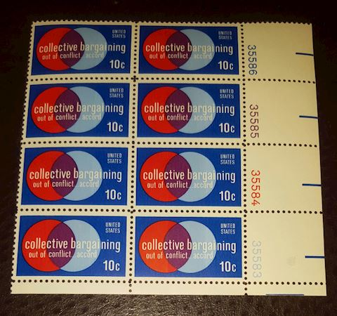 1975 Collective Bargaining Plate Block of 8 10¢ St