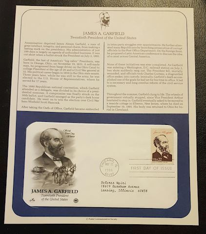 James A. Garfield 1986 First Day Cover