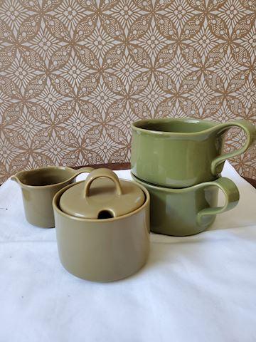 Set of Olive-Green Sugar/creamer and 2 mugs