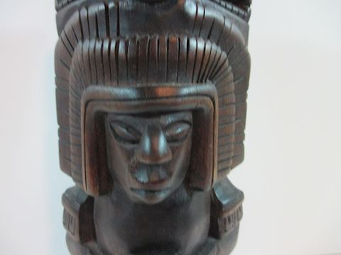 Vintage Egyptian Wood 2 Face Statue