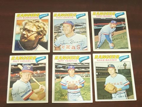 Collection of 6 Vintage 1977 Rangers Baseball Card