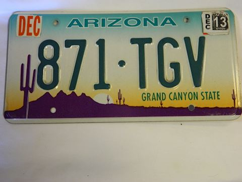 2013 AZ Plate with graphics