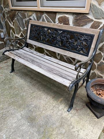 Ornate Wood & Iron Ouside Bench