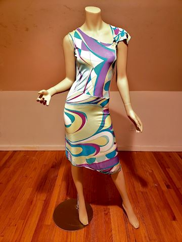 Vtg Signed Emilio Pucci Asymmetrical purple dress