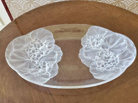 Frosted clear glass serving plate