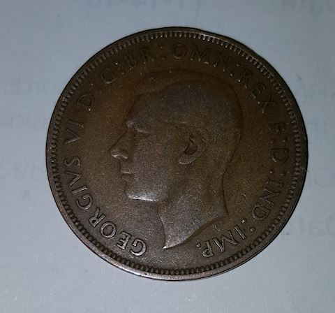 Old 1939 Great Britain Large One Penny Coin